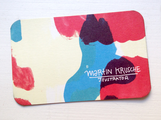 """Business card with colorful paint splashes and """"Martin Krusche Illustrator"""""""