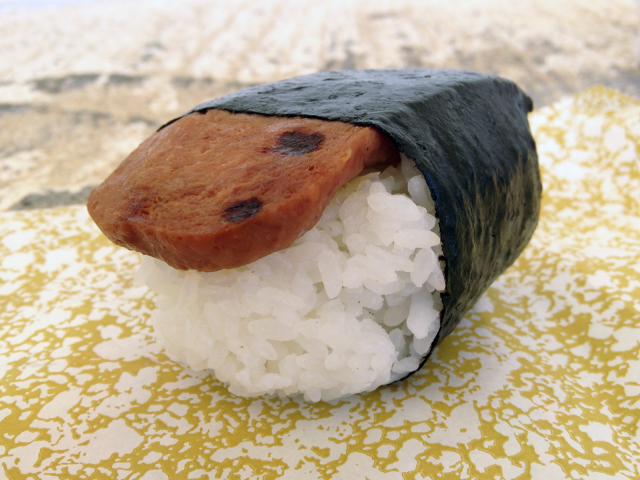 Spam musubi from Lawson convenience store, a typical Hawaii snack