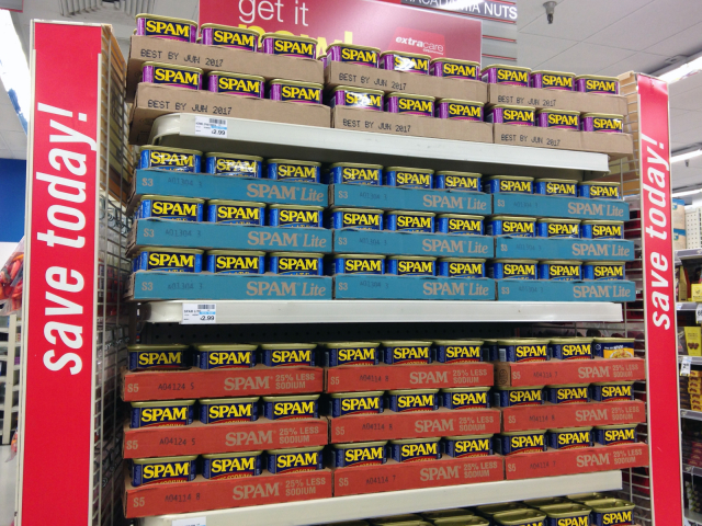Display of spam at Longs/CVS drugstore in Kaimuki, Honolulu during Hurricane Julio