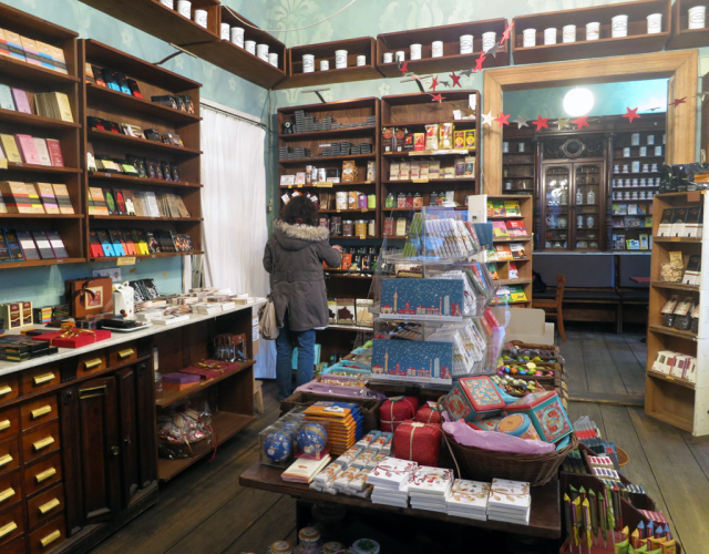 Small chocolate shop with full shelves