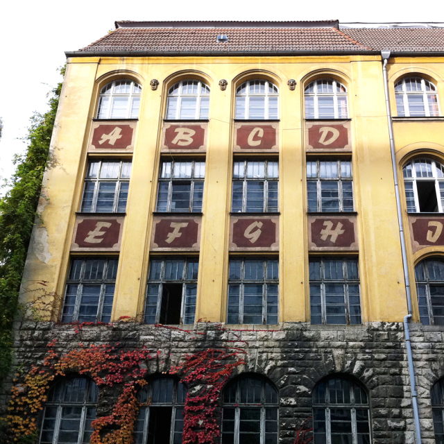 School with alphabet painted on facade