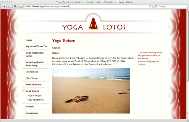Screenshot of Yoga Lotos website